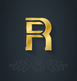 elegant gold font Letter R Template for company vector image