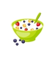 Muesli With Berry And Milk Based Product vector image
