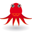 Red octopus on a white background vector image