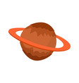saturn isolated cartoon style planet of solar vector image