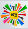 10 percent off sale discount banner price tag vector image