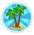 island and palm trees with coconuts vector image
