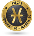 Pisces zodiac gold sign pisces symbol vector image vector image