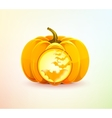 Halloween pumpkin with a carved bats vector image