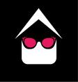 Eye wear shop logo- House with fashion eyeglass vector image