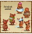 Sick and healthy mice and hamsters vector image