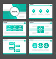 Green light presentation templates Infographic set vector image