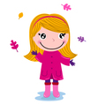 Little cute autumn girl isolated on white vector image