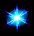light digital star on the black background vector image