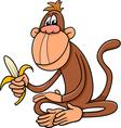 monkey with banana cartoon vector image