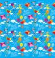 seamless pattern with clouds colorful balloons vector image