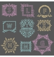Set logos template emblem ornament lines vector image