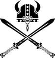 Viking helmet and swords vector image