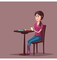 Woman or girl with smartphone sitting at cafe vector image vector image
