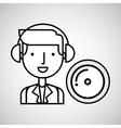man hand drawing listening music cd vector image