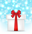 Gift box with red bows on glowing background vector image vector image