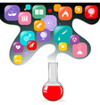 Chemical in flask and other science symbols vector image
