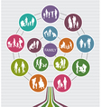 Conceptual Family Background with Silhouettes vector image