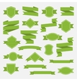 Green ribbons and label set in flat stylePart II vector image