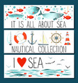 Horizontal banner templates with nautical elements vector image