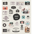 Photographer cameras photo studio icons set vector image