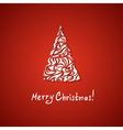 red Christmas card with a tree vector image