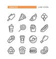 Fast food Set of lined icons vector image