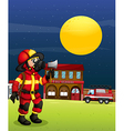 A fireman in the middle of the night vector image vector image