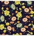 Dark Background Kimono Gold Flowers vector image