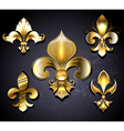 Set of Golden Fleur de Lis vector image vector image