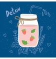 Bottle smoothie with mint strawberries Detox and vector image