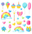 collection of fantasy and birthday party items vector image