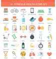 fitness and health color flat icon set vector image