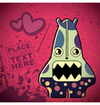 Monster on retro background vector image