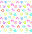 seamless pattern with delicious donuts hand-drawn vector image