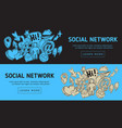 social network web design with isolated essential vector image