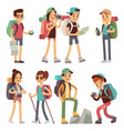 tourists people characters for hiking and trekking vector image