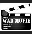 War movie clapperboard vector image