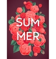 Summer Pink Roses and Green Leaves on Dark vector image