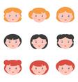 Flat design female avatars vector image