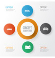 car icons set collection of auto convertible vector image