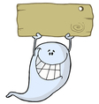 Grinning Ghost Holding Up A Blank Wooden Sign vector image
