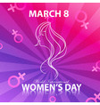 Happy women day for lady face with background colo vector image
