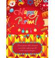 purim carnival poster invitation flyer vector image