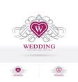 wedding logo heart shape crest with decorative vector image