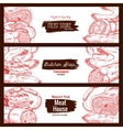 Meat butchery products sausages banners sketch vector image vector image