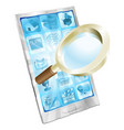 magnifying glass search icon phone concept vector image