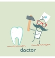 doctor hammers on the tooth vector image vector image