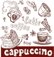 Coffee cappuccino late and sweets Vector Image