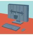 Computer in safe vector image
